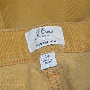 J Crew Toothpick Corduroy Pants Yellow 29X27